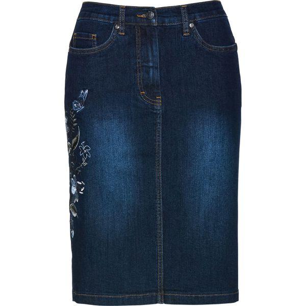 b64a1182 Spódnica dżinsowa z haftem bonprix ciemnoniebieski