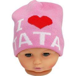 Czapka niemowlęca z napisem tata CZ 160E różowa. Czapki dla dzieci marki Reserved. Za 30.75 zł.