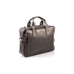 Ciemno brązowa skórzana torba na ramię b02, Kolor wnętrza: Czarny. Brązowe torby na laptopa męskie Brødrene, w paski, ze skóry. Za 169.00 zł.