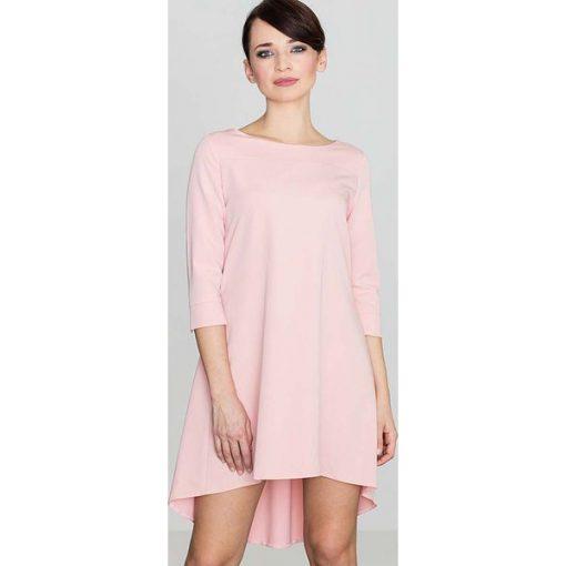 ad78bedef9142 Różowa Asymetryczna Sukienka z Plisami - Sukienki damskie marki ...