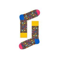 Skarpetki Happy Socks - Axe (AXE01-8000). Szare skarpety męskie Happy Socks, w kolorowe wzory, z bawełny. Za 34.90 zł.