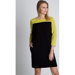 Zielono-czarna sukienka z kieszeniami BIALCON. Czarne sukienki damskie BIALCON, z tkaniny, wizytowe. W wyprzedaży za 230.00 zł.