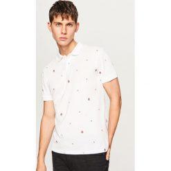 Koszulka polo w drobny wzór - Biały. Białe koszulki polo męskie Reserved. Za 59.99 zł.