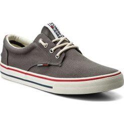 Tenisówki TOMMY JEANS - Textile Sneaker EM0EM00001 Steel Grey 039. Szare trampki męskie Tommy Jeans, z gumy. W wyprzedaży za 199.00 zł.