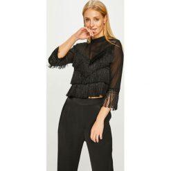 Answear - Bluzka. Czarne bluzki damskie ANSWEAR, z aplikacjami, z dzianiny, casualowe, ze stójką. Za 149.90 zł.