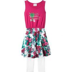 Sukienka + legginsy 3/4 (2 części) bonprix jeżynowo-biały. Legginsy dla dziewczynek bonprix, z nadrukiem. Za 37.99 zł.