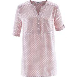 Bluzka tunikowa, krótki rękaw bonprix matowy jasnoróżowy - biały w kropki. Bluzki damskie marki DOMYOS. Za 54.99 zł.