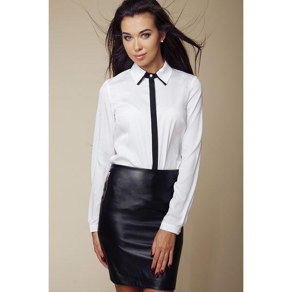 Modernistyczne Elegancka Koszula z Kontrastową Lamówką - Biały - Spódnice damskie VY38