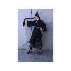 Ręcznie farbowane spodnie SHIBORI. Szare spodnie materiałowe damskie Pikiel, w paski, z bawełny. Za 350.00 zł.