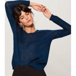Ażurowy sweter z domieszką wełny - Zielony. Zielone swetry damskie Mohito, z wełny. Za 99.99 zł.
