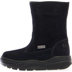 """Skórzane kozaki zimowe """"Ver"""" w kolorze granatowym. Buty zimowe dziewczęce Zimowe obuwie dla dzieci. W wyprzedaży za 215.95 zł."""