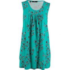 Sukienka shirtowa, bez rękawów bonprix zielony oceaniczny w kwiaty. Zielone sukienki damskie bonprix, w kwiaty, bez rękawów. Za 74.99 zł.