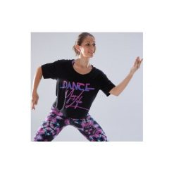 Koszulka krótka do tańca damska. Czarne koszulki sportowe damskie DOMYOS, z elastanu, z krótkim rękawem. Za 49.99 zł.