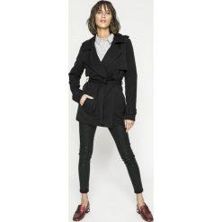 Vero Moda - Płaszcz. Szare płaszcze damskie Vero Moda, w paski, z elastanu, klasyczne. W wyprzedaży za 89.90 zł.