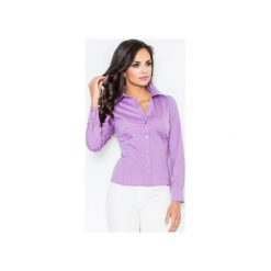 Koszula M021 Fiolet. Fioletowe koszule damskie Figl, z bawełny, klasyczne, z klasycznym kołnierzykiem, z długim rękawem. Za 73.00 zł.