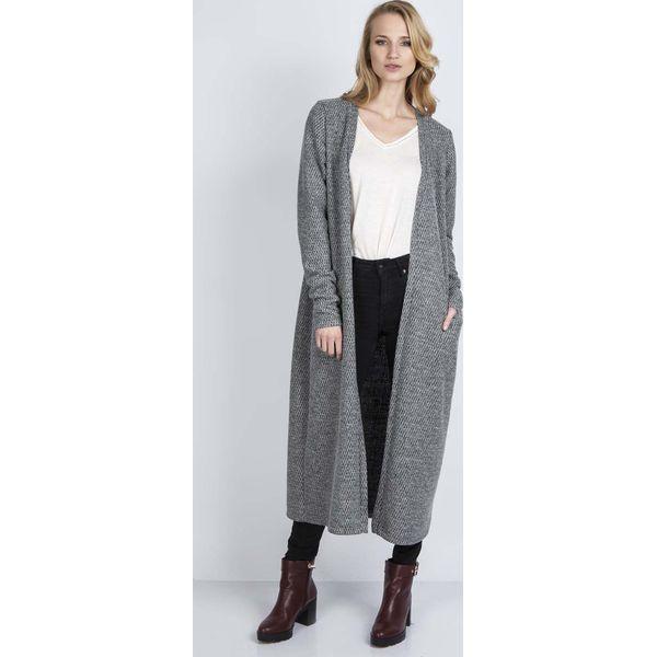 Kardigany damskie: Szary Długi Sweter Płaszczowy bez Zapięcia