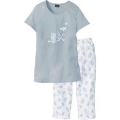 Piżama z krótkim rękawem i spodniami 3/4 bonprix srebrnoszaro-biały. Białe piżamy damskie bonprix, z krótkim rękawem. Za 54.99 zł.