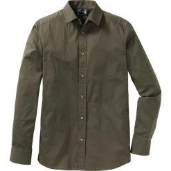 Koszula ze stretchem Slim Fit bonprix ciemnooliwkowy. Zielone koszule męskie bonprix. Za 74.99 zł.