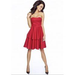 Gorsetowa sukienka z podwójną falbaną km182. Czerwone sukienki dla dziewczynek Kartes Moda, z dresówki. W wyprzedaży za 95.00 zł.