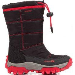 """Kozaki zimowe """"Himalaya"""" w kolorze czerwono-czarnym. Czarne buty zimowe dziewczęce marki Geox Kids, z gumy. W wyprzedaży za 185.95 zł."""