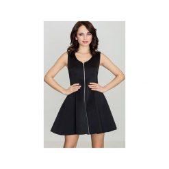 Sukienka K255 Czarny. Czarne sukienki damskie Lenitif, z okrągłym kołnierzem, bez rękawów. Za 139.00 zł.
