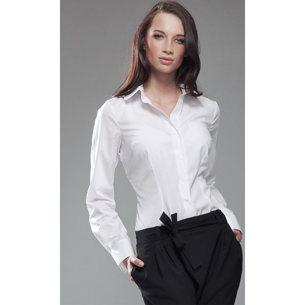 Zaktualizowano Biała Elegancka Koszula z Okrągłym Kołnierzykiem - Koszule damskie DS43
