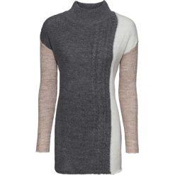 Sweter dzianinowy bonprix beżowy melanż - antracytowy melanż - biel wełny melanż. Brązowe swetry damskie bonprix, z dzianiny, ze stójką. Za 54.99 zł.