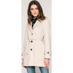 Vero Moda - Płaszcz. Szare płaszcze damskie Vero Moda, w paski, z bawełny. W wyprzedaży za 99.90 zł.