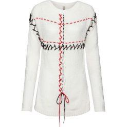Sweter ze sznurowaniem bonprix biel wełny - czerwono-biały. Swetry damskie marki bonprix. Za 109.99 zł.