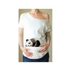 Biały ciążowy oversize tshirt panda. Białe t-shirty damskie One mug a day, z nadrukiem, z bawełny. Za 89.00 zł.