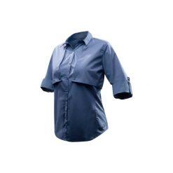 Koszula turystyczna długi rękaw TRAVEL 500 MODUL damska. Niebieskie koszule damskie FORCLAZ, z bawełny, z długim rękawem. Za 99.99 zł.