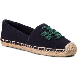 Espadryle TORY BURCH - Elisa Logo Flat Espadrille 38031 Perfect Navy/Norwood 452. Niebieskie espadryle damskie Tory Burch, z materiału. W wyprzedaży za 619.00 zł.