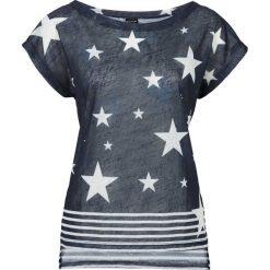T-shirt bonprix ciemnoniebiesko-biały z nadrukiem. T-shirty damskie bonprix, z nadrukiem, z dekoltem w łódkę. Za 29.99 zł.
