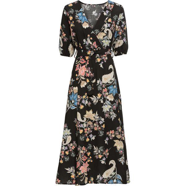 1314205a08 Sukienka midi bonprix czarny z nadrukiem - Czarne sukienki damskie ...