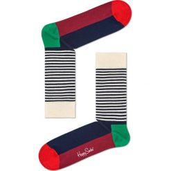 Happy Socks - Skarpetki Half Stripe. Szare skarpety damskie Happy Socks, z bawełny. W wyprzedaży za 29.90 zł.