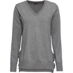 Sweter z falbanami bonprix szary melanż. Swetry damskie marki bonprix. Za 79.99 zł.