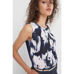 Koszula bimaterial ze wzorem. Niebieskie koszule damskie Orsay, z dzianiny, z dekoltem na plecach. Za 69.99 zł.