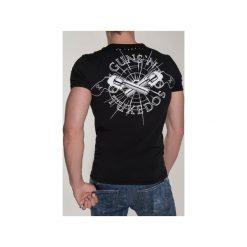 T-SHIRT GUN 2. Czarne t-shirty męskie Guns&tuxedos, z klasycznym kołnierzykiem. Za 219.00 zł.