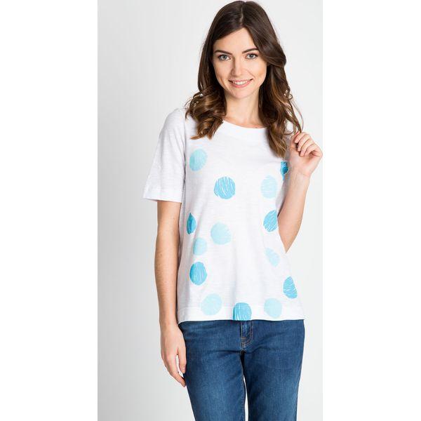 5710476d1c5e Biała bluzka w błękitna grochy QUIOSQUE - Bluzki damskie marki ...