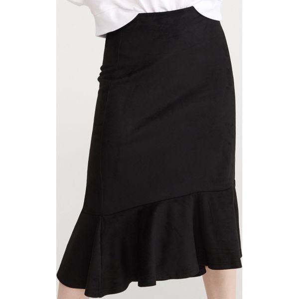 Spódnica z falbaną Czarny Czarne spódnice damskie