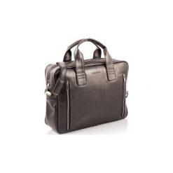 Ciemno brązowa skórzana torba na ramię b02, Kolor wnętrza: Czerwony. Brązowe torby na ramię męskie Brødrene, w paski, ze skóry. Za 169.00 zł.