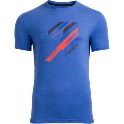T-shirt męski TSM613 - niebieski melanż - Outhorn. Niebieskie t-shirty męskie Outhorn, na lato, melanż, z bawełny. W wyprzedaży za 29.99 zł.