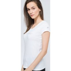 T-shirt damski TSD259 - biały. Białe t-shirty damskie 4f, z nadrukiem, z bawełny. Za 34.99 zł.
