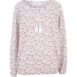 Bluzka bawełniana z długim rękawem bonprix biały w kwiaty. Białe bluzki damskie bonprix, w kwiaty, z bawełny, z długim rękawem. Za 49.99 zł.