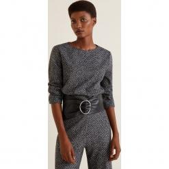 Mango - Bluzka Canvas. Brązowe bluzki damskie Mango, z materiału, eleganckie, z okrągłym kołnierzem. Za 139.90 zł.