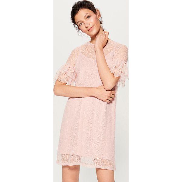 a5f550aaea Koronkowa sukienka z falbankami - Różowy - Sukienki damskie marki ...