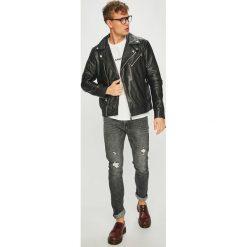 Calvin Klein Jeans - Kurtka skórzana. Szare kurtki męskie Calvin Klein Jeans, z bawełny. Za 1,899.00 zł.