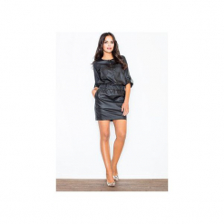 Sukienka M360 Czarny. Czarne sukienki damskie Figl, z gumy, z okrągłym kołnierzem. Za 139.00 zł.
