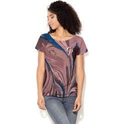 Colour Pleasure Koszulka damska CP-034  283  niebiesko-brązowo-różowa r. XS-S. T-shirty damskie Colour Pleasure. Za 70.35 zł.