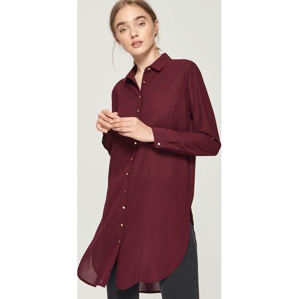 f106583c562e07 Długa koszula - Bordowy - Czerwone koszule damskie Sinsay, z długim ...